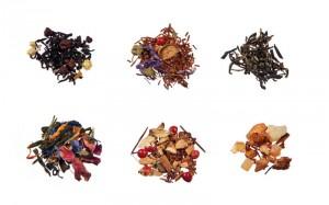 Verschiedene Sorten Tee für die Reagenzgläser