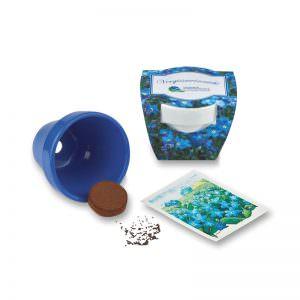 Bunte Keramiktöpfe mit Banderole